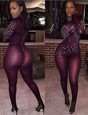 NUOVI Sandali Donna Bordeaux Trasparente Strass Tuta Catsuit Club Wear Tg UK 10