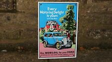 "1980s  ""FORD 8""  HEAVY ENAMEL Sign by  Garnier   MOBIL OIL"