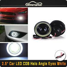 "2.5"" LED Fog Light Projector White Angel Eye COB Halo Ring DRL Driving Bulbs USA"
