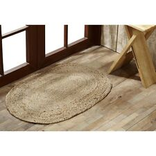 "Country Primitive NATURAL Braided Jute 20"" x 30"" Oval Rug Casual Area Rug"