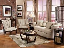 Modern Art Deco Chenille Sofa Couch & Two Chairs Set Living Room Furniture-IG8C