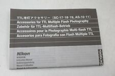 Nikon TTL Accessories SC-17/18/19+AS-10/11 Instruction Sheet+English/J/G/F/C/S+