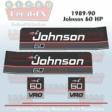 1989-90 Johnson 60 HP Sea-Horse Outboard Reproduction 6 Pc Marine Vinyl Decals