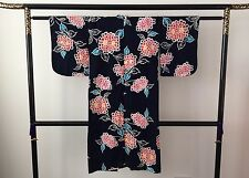 Authentic Japanese blue cotton summer yukata kimono for girls, good cond. (F822)