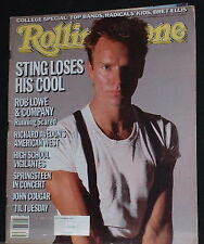 Sting,Bryan Ferry,Rob Lowe,College Special Sept 26,1985 Rolling Stone magazine