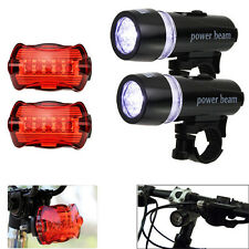 2x 5 LED Lamp Bike Bicycle Front Head Light +Rear Safety Waterproof Flashlight V