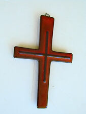 Vintage Retro Modernist Crucifix Wall Mount Hanging CROSS Ceramic Red Black