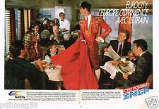 Publicité advertising 1987 (2 pages) Train Eurocity SNCF