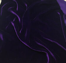 "Silk VELVET Fabric AUBERGINE PURPLE 45"" -By The Yard-"