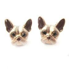 Cute Bulldog Ear Stud Gold Dog Head Earrings Animal Pendant Women's Fashion