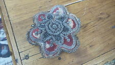 Antique Old & Original VICTORIAN BEADED PINCUSHION Floral Shape