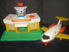Vintage Fisher Price Little People Airport & Plane Toy Lot