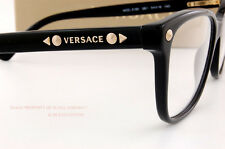 Brand New VERSACE Eyeglass Frames 3190 GB1 for Women BLACK 100% Authentic SZ 52