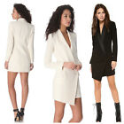 Fashion Women Slim One Button Long Blazer Suit Jacket Coat Long Sleeve Black