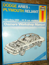 1981-1988 DODGE ARIES PLYMOUTH RELIANT HAYNES REPAIR MANUAL SERVICE WORKSHOP