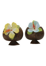Deluxe Hula Coconut Cocktail Cup with Flower Assorted Colour Single Item