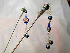 ONE DARK BLUE CLOISONNE JAPANESE FLOWER HAIR STICK PIN CHOPSTICK CHINESE WOMEN