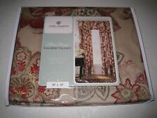 """Cindy Crawford Flora Rouge Red Large Bold Floral Blue Valance Lined 80""""x18"""" NEW"""