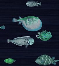 Cole & Son Acquario Fornasetti II Wallpaper Washed Black/Turquoise 200cm Offcut