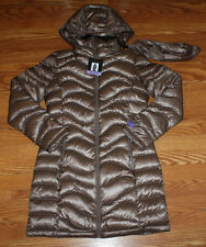 NWT Womens ANDREW MARC Taupe Packable Long Hooded Puffer Down Jacket Coat L