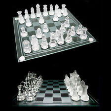 ChessBoard 32 Pieces Glass Frosted Traditional Chess Board Draughts Set Game Fun