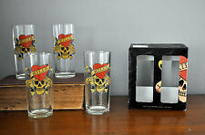 Set of 4 Signed Don Ed Hardy 14oz Hi Ball Glasses  ~Love Kills Slowly Skull NIB