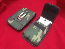 VERTICAL ARMY GREEN NYLON BELT CLIP POUCH FOR SAMSUNG GALAXY S3 EXTENDED BATTERY