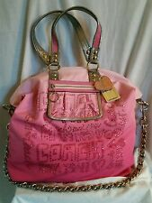 Authentic Coach Poppy XL Storypatch Rhinestone Spotlight Limited Tote 15312 Pink