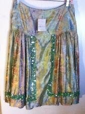 NEW Boston Proper Green Floral Satin Brocade Drop Waist Sequin Dance Mid Skirt 8
