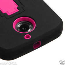 Moto X (2nd Gen) X+1 Hybrid Rugged Armor w/Stand Case Skin Cover Black Hot Pink