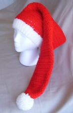 Handmade Christmas Santa Knit Hat/beanie  - red and white hat, extra long