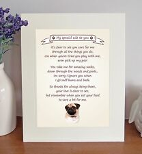 "Pug 10"" x 8"" Free Standing 'Thank You' Poem Fun Novelty Gift FROM THE DOG"