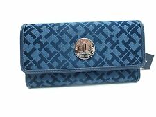 TOMMY HILFIGER Women's Wallet Clutch w/Checkbook*Navy Blue Envelop Style New