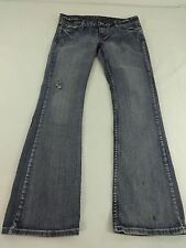 FIREFLY WOMENS MEDIUM WASH LOW RISE BOOT CUT DISTRESSED JEANS JRS SIZE 7