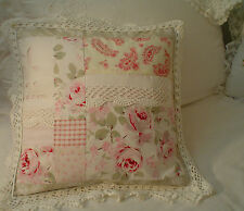 Cottage Chic Hand M Shabby R.AShwell Pink Rosalie roses cochet patchwork pillow