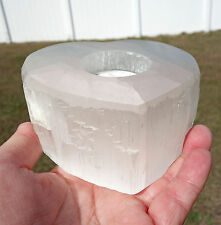 Pure White Selenite Heart Candle Holder Candleholder Morocco Crystal Big Size !