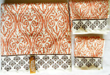 ELLEN TRACY LUXURY COLLECTION CORAL WHITE 3pc TOWEL SET BATH HAND WASH CLOTH NEW