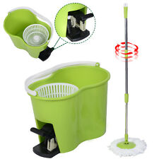 Microfiber Spinning Mop Easy Floor Mop W/Bucket 2 Heads 360 Rotating Head Green