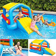 NEW! Inflatable Cabin Island & Slide Water Play Center Swimming Pool Kids Float