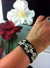 Surf Jewelry Gypsy Braclet Black Cowrie Shell 13 cm 9 cm Ties Adjustable Kuchi