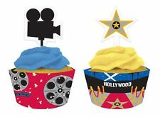 12 MOVIE NIGHT CUPCAKE WRAPPERS & PICKS Hollywood Red Carpet Party Decoration