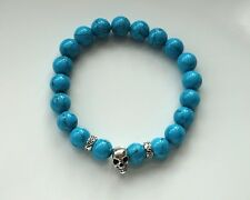 Handmade Turquoise Antique Silver Skull Head Charm Beaded Stretch Bracelet Men