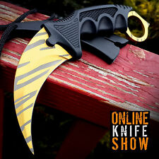 TACTICAL COMBAT KARAMBIT KNIFE Survival Hunting BOWIE Fixed Blade GOLD TIGER