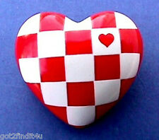 Valentines Day BROOCH Pin RED & WHITE Check HEART Checkerboard Vintage Jewelry