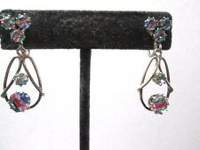 EUROPEAN SILVER 835 VINTAGE ART IRIS GLASS DANGLE DROP SCREWBACK EARRINGS MCM