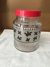 Large Christmas Holly Glass Container Jar With Plastic Lid