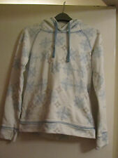 White Blue & Brown Snowflake Pattern Fat Face Hoodie in Size 8