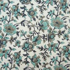 Indian Cotton Voile Fabric Hand Block Print Craft Dressmaking Material By The Yd