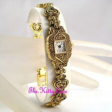 Vintage Arabesque Filigree Goth Hearts Gold Plt MOP Marcasite Ladies Dress Watch
