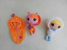 2 x Lalaloopsy Dolls Little Fairy Fern with Wings Sleep Bag & Bow Bah Peep Sheep